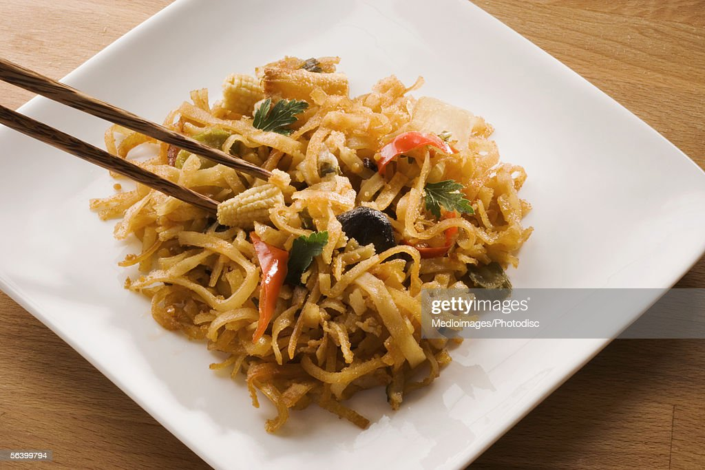 High angle view of noodles in a serving tray : Stock Photo