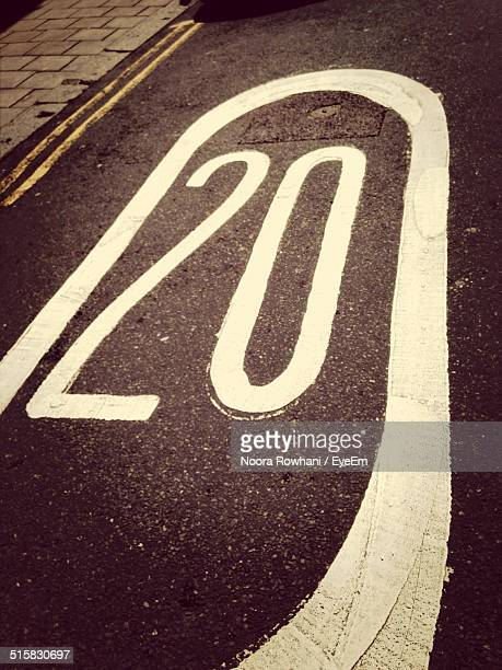 high angle view of number 20 on street - number 20 stock pictures, royalty-free photos & images