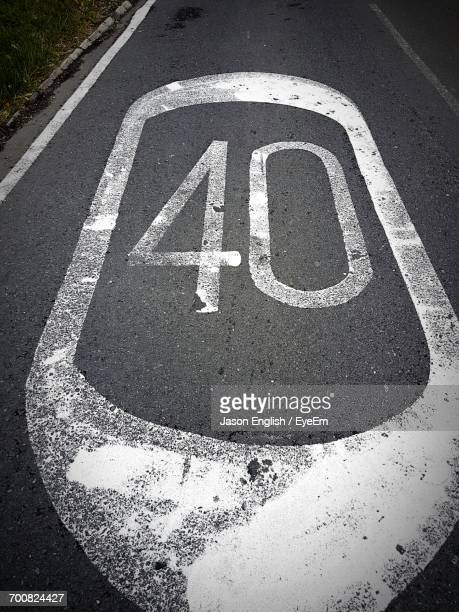 High Angle View Of Number 40 On Road