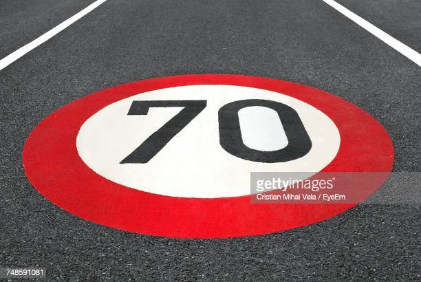 High Angle View Of Number 70 Speed Limit Sign On Road