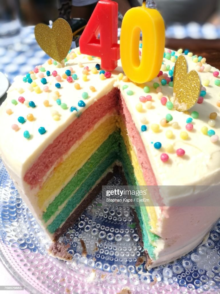 High Angle View Of Numbers On Birthday Cake Stock Photo Getty Images