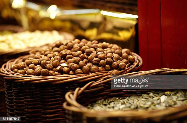 High Angle View Of Nuts For Sale At Market Stall