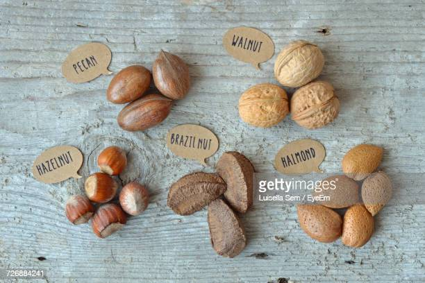 High Angle View Of Nuts On Table