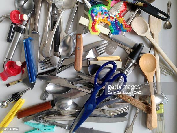 High Angle View Of Objects In Drawer