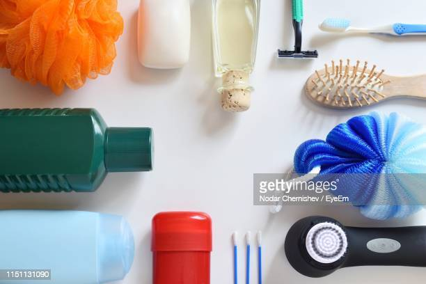 high angle view of objects on table - toiletries stock pictures, royalty-free photos & images