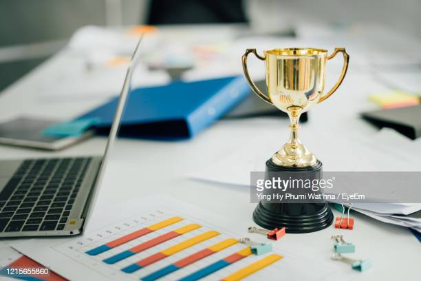 high angle view of objects on table - trophy stock pictures, royalty-free photos & images