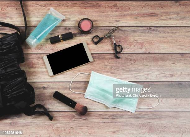 high angle view of objects on table - handbag stock pictures, royalty-free photos & images
