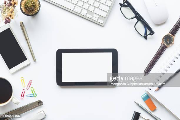 high angle view of office supplies on white background - 文房具 ストックフォトと画像