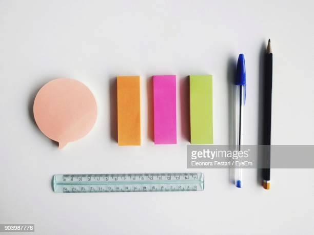 High Angle View Of Office Supply On White Background
