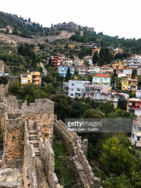 high angle view of old buildings in city - melike stock pictures, royalty-free photos & images