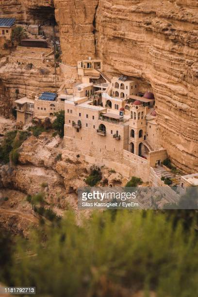 high angle view of old buildings - jericho stock photos and pictures