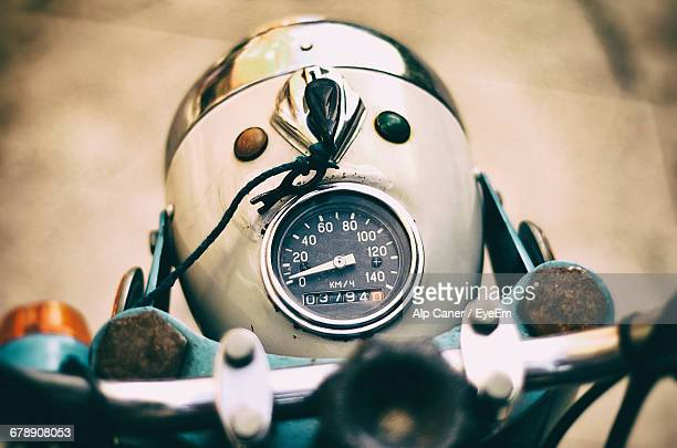 high angle view of old fashioned motorcycle handlebar - vintage motorcycle stock pictures, royalty-free photos & images