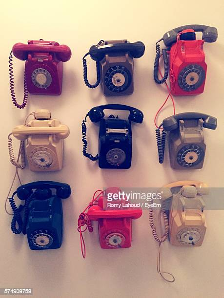 High Angle View Of Old Landline Telephones On Floor