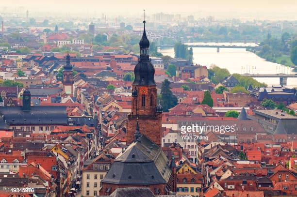 a high angle view of old medieval town of heidelberg at daytime - history museum stock pictures, royalty-free photos & images