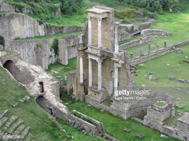 high angle view of old ruin - volterra stock photos and pictures