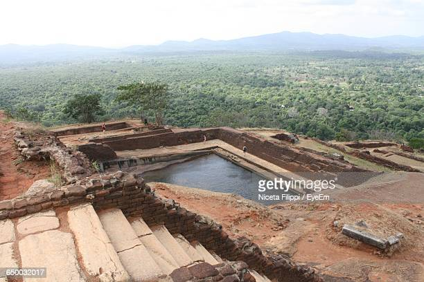 High Angle View Of Old Ruins At Sigiriya