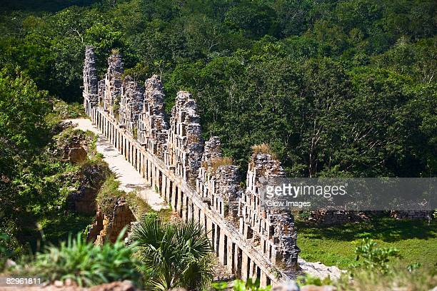 High angle view of old ruins of a building, Cuadrangulo De los Pajaros, Uxmal, Yucatan, Mexico