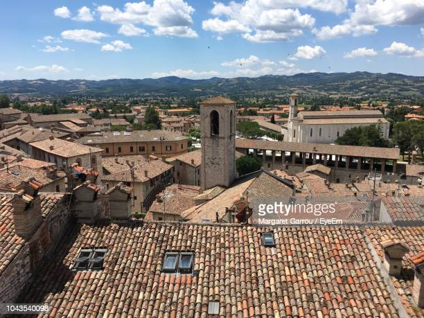 high angle view of old town against sky - gubbio stock pictures, royalty-free photos & images