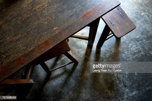 High Angle View Of Old Wooden Table And Bench On Floor