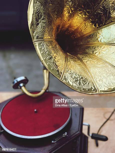 High Angle View Of Old-Fashioned Antique Gramophone