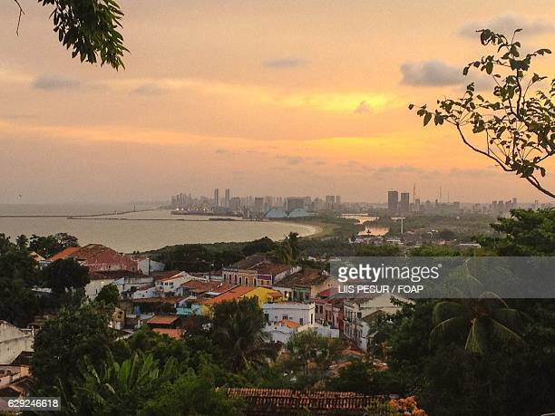 High angle view of Olinda and Recife city