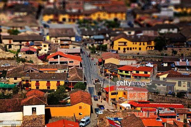 High angle view of Ollantaytambo town, gateway to Machu Picchu, tilt-shift effect