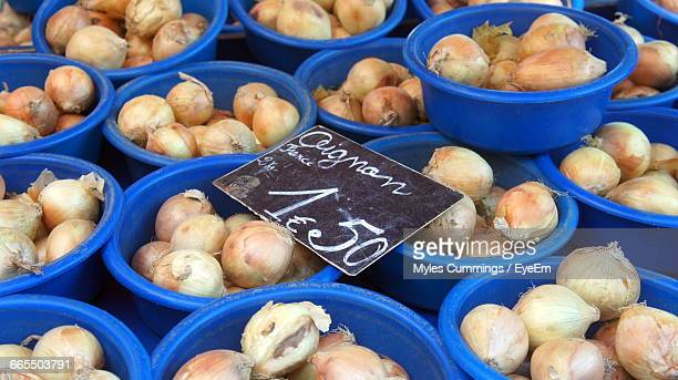 High Angle View Of Onions At Market