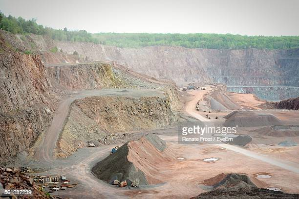 High Angle View Of Open Pit Gold And Copper Mine