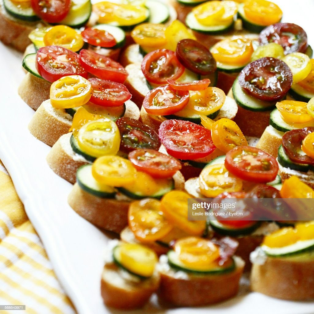 High Angle View Of Open Sandwich Served In Plate : Stock Photo