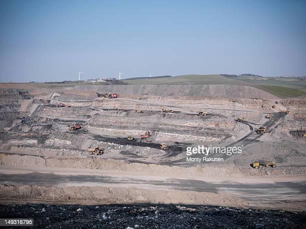 High angle view of opencast coalmine
