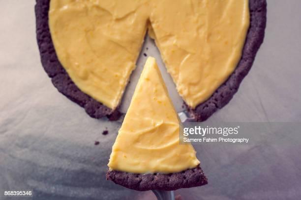 High Angle View Of Orange Pie