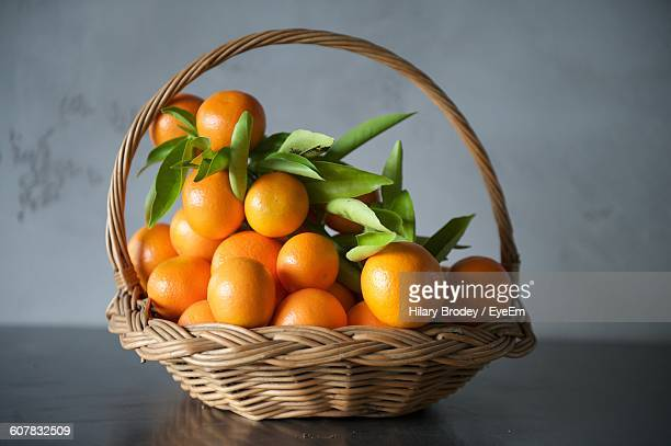High Angle View Of Oranges In Basket On Table