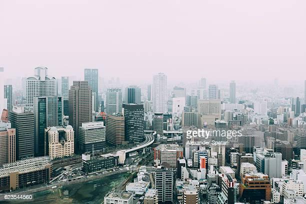 High angle view of Osaka skyline, Kansai region, Japan