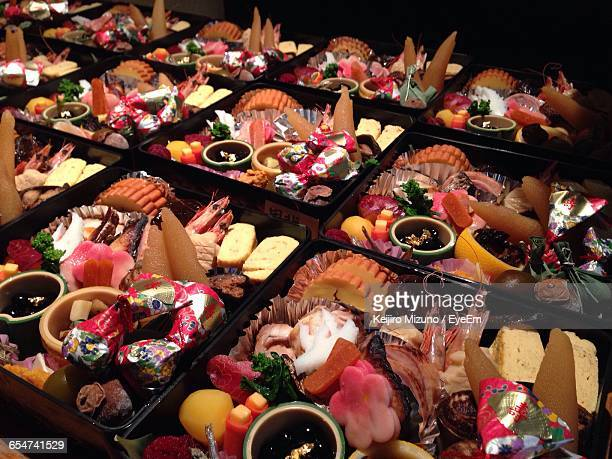 high angle view of osechi - osechi ryori stock pictures, royalty-free photos & images