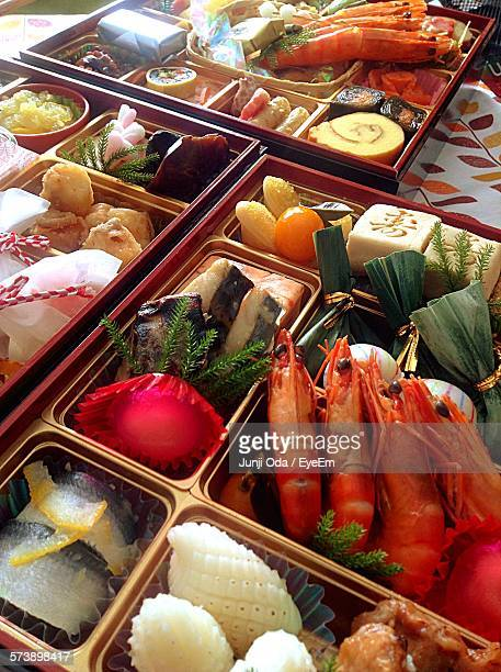 High Angle View Of Osechi Ryori In Boxes On Table
