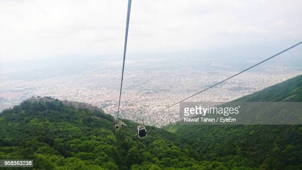 high angle view of overhead cable car against sky - ブルサ ストックフォトと画像