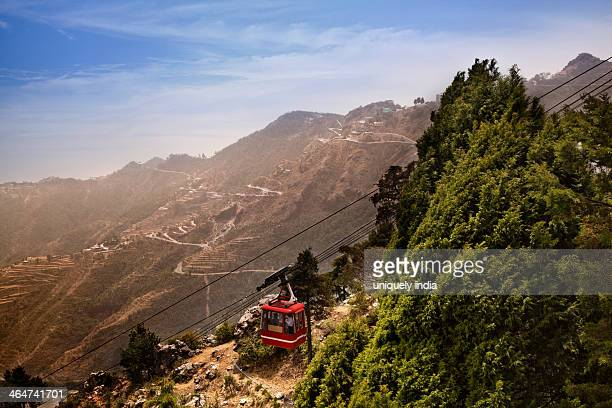 High Angle View of Overhead Cable Car passing through mountains, Gun Hill, Mussoorie, Uttarakhand, India