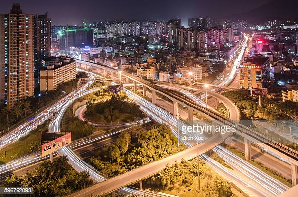 High angle view of overpass at night
