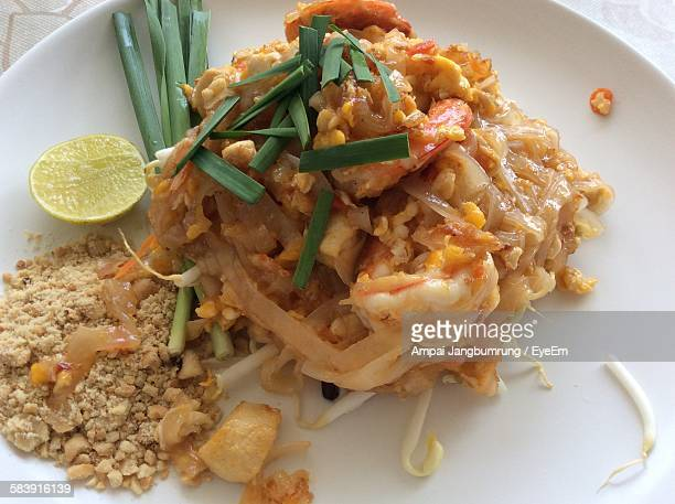 High Angle View Of Pad Thai In Plate