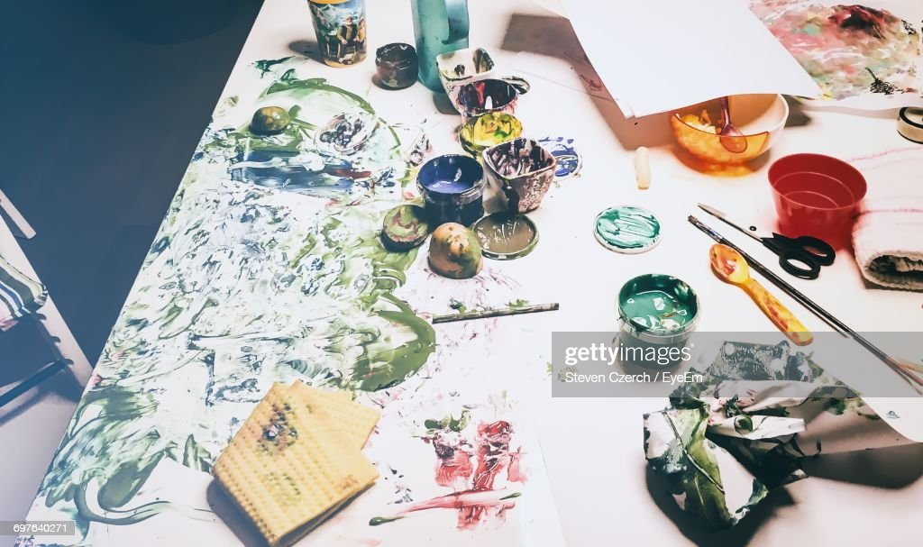 High Angle View Of Paint On Table : Photo