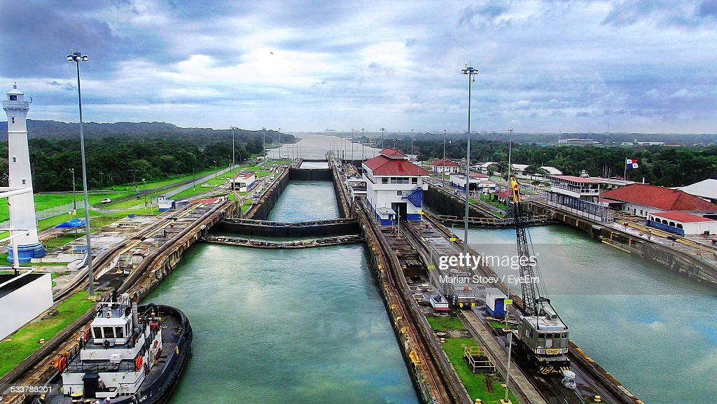 High Angle View Of Panama Canal : Foto stock