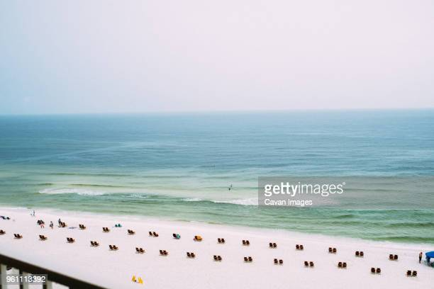 high angle view of panama city beach against clear sky - panama city beach stock pictures, royalty-free photos & images
