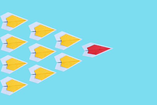 High Angle View Of Paper Boats Over Blue Background - gettyimageskorea