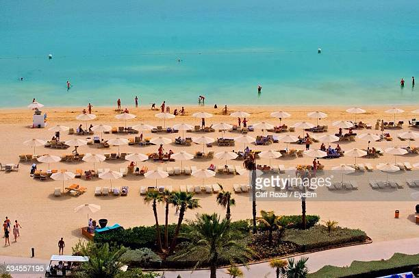 High Angle View Of Parasols At Beach