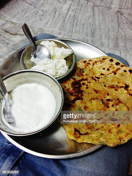 High Angle View Of Paratha Served In Plate