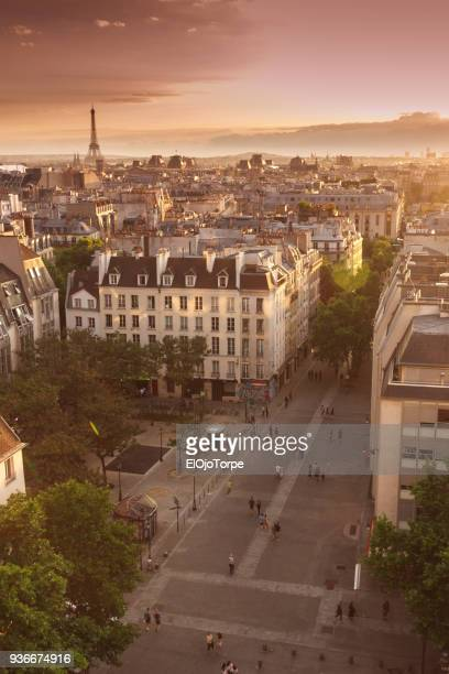 high angle view of paris, france - centre pompidou stock pictures, royalty-free photos & images