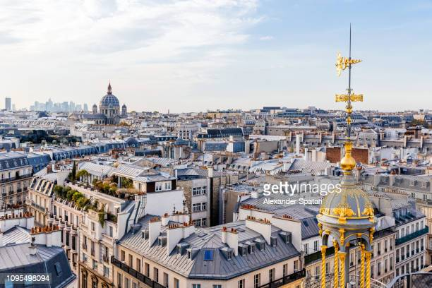 high angle view of paris skyline with rooftops and church of st. augustine, paris, france - paysage urbain photos et images de collection