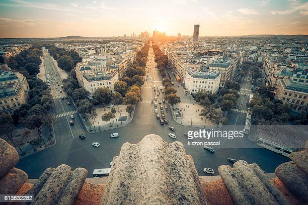 high angle view of paris with la defense against the sun light - triumphal arch stock photos and pictures