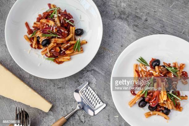 High Angle View Of Pasta In Plate On Table