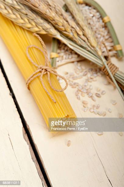 High Angle View Of Pasta Ingredients On Table
